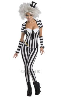 HALLOWEEN FANCY DRESS ~ LADIES MISS BEETLEJUICE SUIT COSTUME Small 8-10